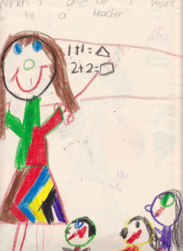 """When I grow up I want to be a teacher"" by me, aged 6 (1986)"