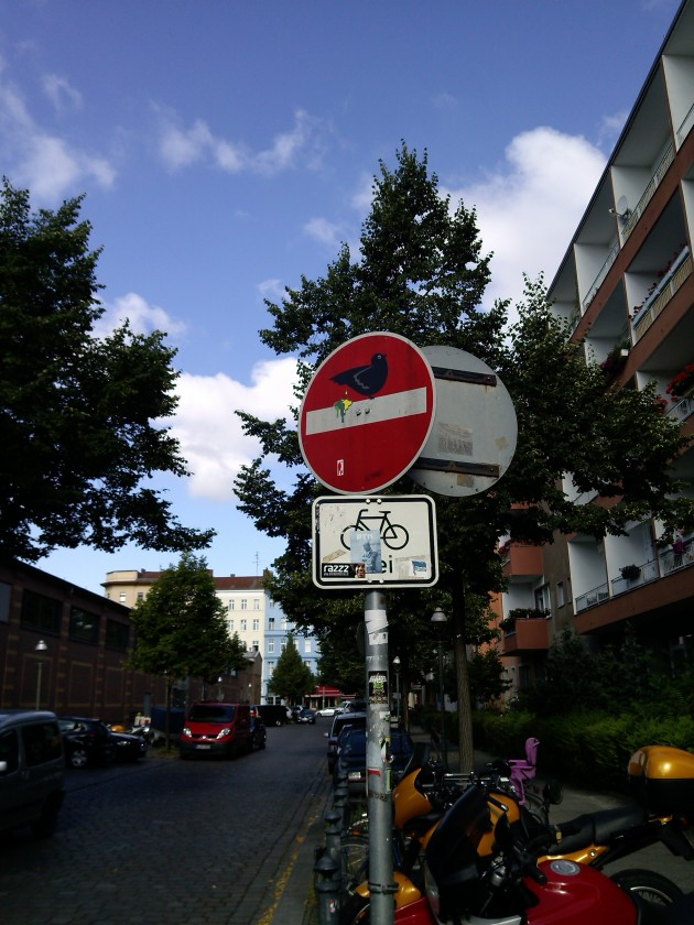 Clet Abraham's  magic with the one way sign. Kreuzberg, Berlin.